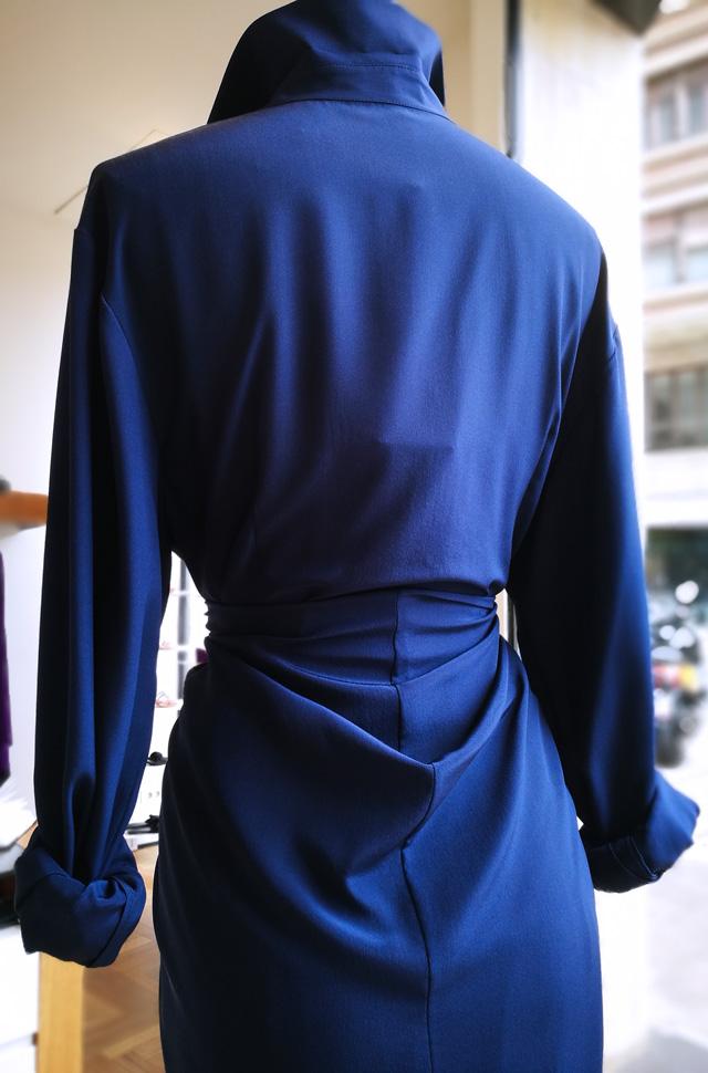 Vestido azul de Michael Kors Collection, colección desfile 2ª parte Moda 2018 100% seda. Hecho en Italia.
