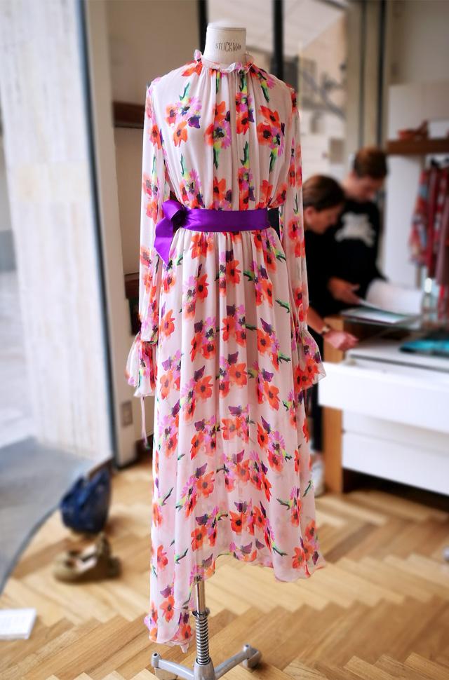 MSGM vestido de colección desfile Moda Primavera Verano 2018 de gasa de seda natural, Moho Chic y Romantic Trend
