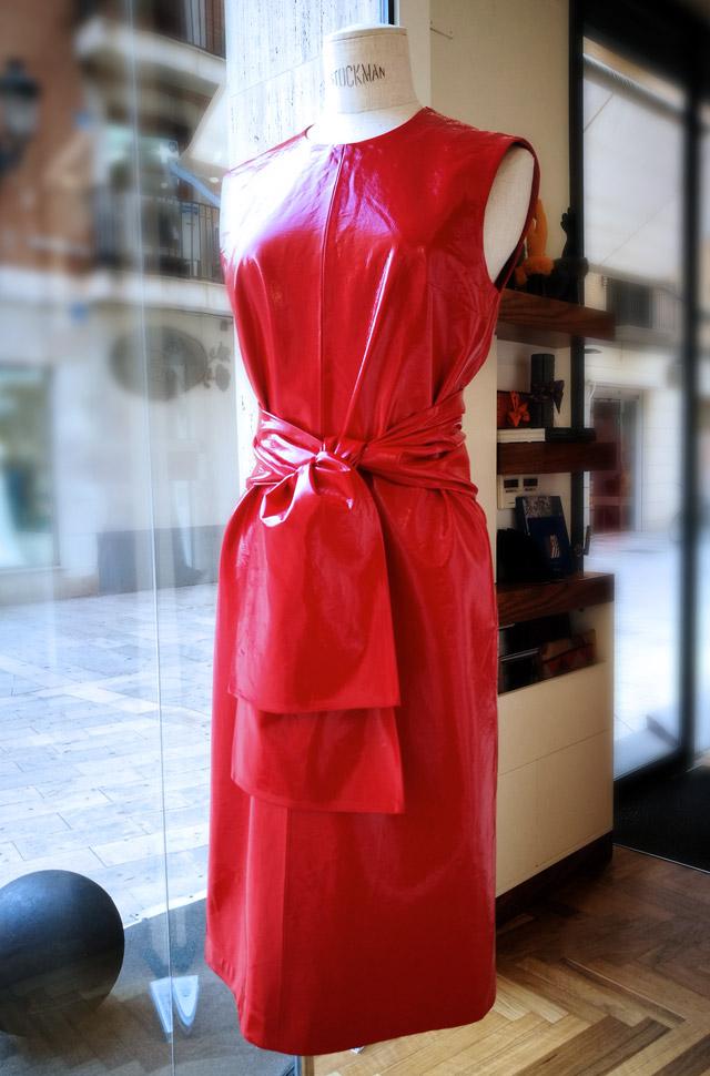Vestido Rojo MSGM Colección Otoño Invierno 2018 2019 de charol y algodón - Patos Valencia