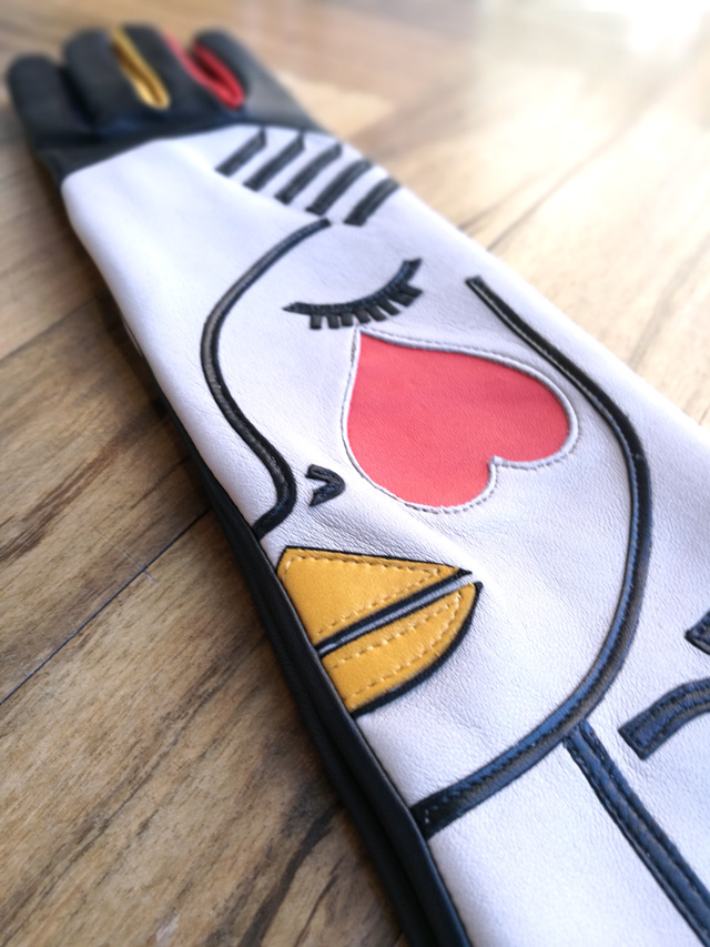 Agnelle guante con dibujo, piel de cordero y forro de seda