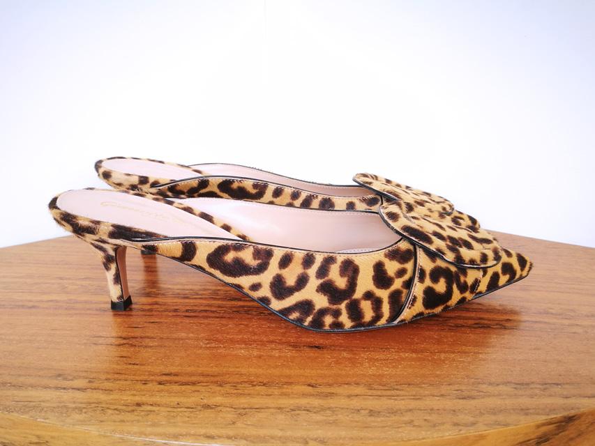 Zapato mule leopardo de Gianvito Rossi, piel de potro, suela cuero, color natural